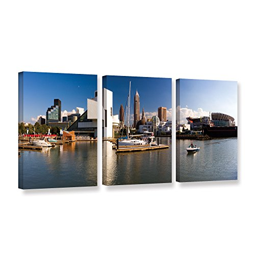 Art Wall Cody York's 3 Piece Cleveland Skyline 4 Gallery Wrapped Canvas Set, 36 by 72