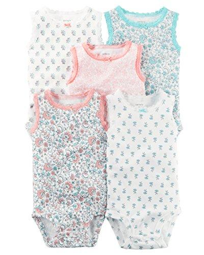 William Carter Girls 5 Pack Short Sleeve Bodysuit Undershirt Set Sleeveless Flower, 3 Months