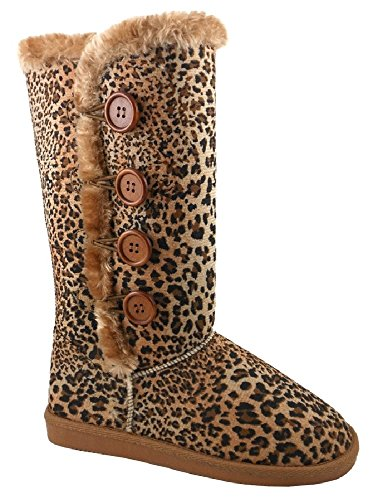 Arnina Becky-4 CUTE! Tall Faux Fur Suede Botton - Leopard Boots With Fur