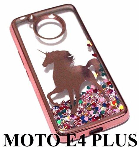 Motorola Moto E4 PLUS (5.5) Case Cover - Rose Gold Unicorn Pink Glitter Rainbow Hearts Liquid Skin Case Cover