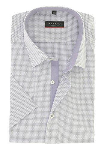 ETERNA Herren Kurzarm Hemd aus 100% Baumwolle Modern Fit mit Kent Kragen tailliert geschnitten Gr. 45 Flieder Strukturiert