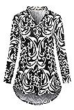 Luranee Business Casual Tops, Womens Long Sleeve Work Shirts Notch V Neck Zulily Tunics Stylish Stretchy Slim Fit High Low Hem Petite Winter Fall Clothes Black Medium