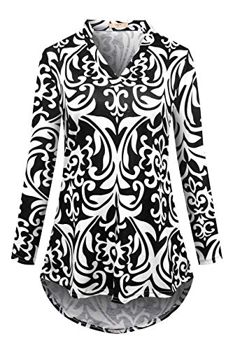 Luranee Business Casual Tops, Womens Long Sleeve Work Shirts Notch V Neck Zulily Tunics Stylish Stretchy Slim Fit High Low Hem Petite Winter Fall Clothes Black Medium by Luranee