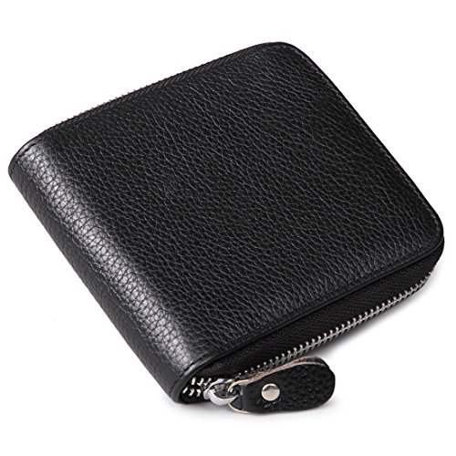 Huztencor Zipper Wallet Men RFID Blocking Leather Zip Around Wallet ID Card Window Secure Zipper Bifold Wallets (Plenty Bi Fold Wallet)