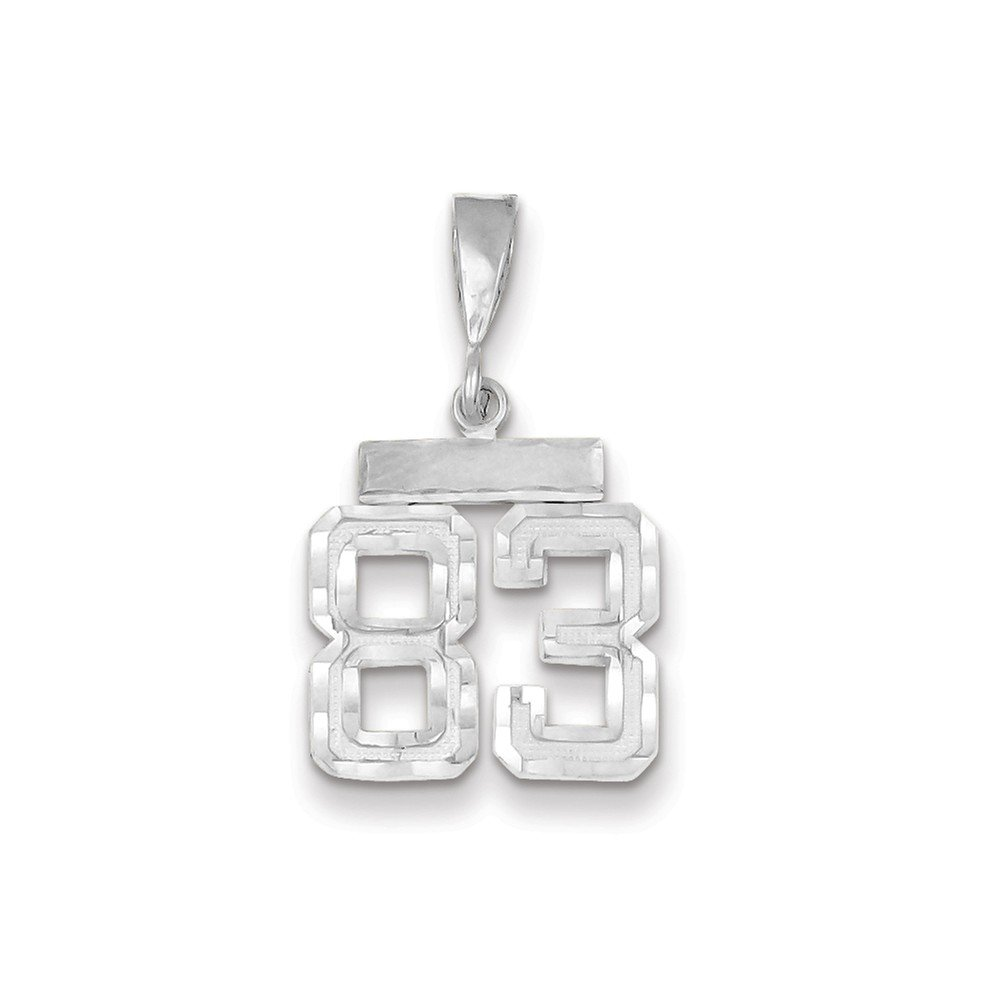 14K White Gold Small Shiny-Cut Number 83 Charm