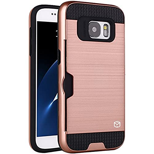 S7 Case, MP-Mall [Shock Absorbent] [Card Slot] Armor Hybrid Defender Shockproof Rugged Protective Cover Case For Samsung Galaxy S7 (Rose Gold) Sales