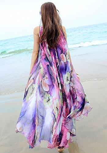 dcba07e494 MedeShe Women's Chiffon Floral Holiday Beach Bridesmaid Maxi Dress Sundress  ( Medium, Purple Floral)
