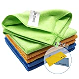 12'x12' Microfiber Cleaning Cloth 6PCS 3 Colors(Green Blue Orange) Reusable Wash Clothes for House Boat Car Window Cleaner 2PCS Screen Cloth as Gift