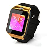 Fanmis Watch Phone Bluetooth Smart Camera Watch M9 Metal Wristwatch with Camera and Headset for Android (Full Functions) Samsung S3/s4/s5/note 2/note 3/note 4 HTC Sony Lg and Iphone 5/5c/5s/6/6 Plus (Partial Functions) (Gold)
