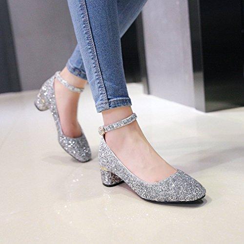 YE Damen Chunky Heels Geschlossen Pumps mit Blockabsatz und Riemchen Bequem Glitzer 5cm Absatz Schuhe Silber