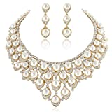 EVER FAITH Gold-Tone Austrian Crystal Ivory Color Simulated Pearl V-Shaped Cluster Jewelry Set Clear