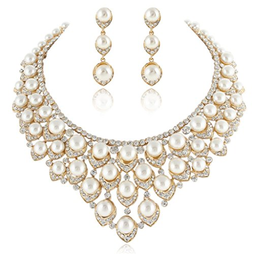White Pearl Ball Cluster Necklace (EVER FAITH Gold-Tone Austrian Crystal Ivory Color Simulated Pearl V-Shaped Cluster Jewelry Set Clear)