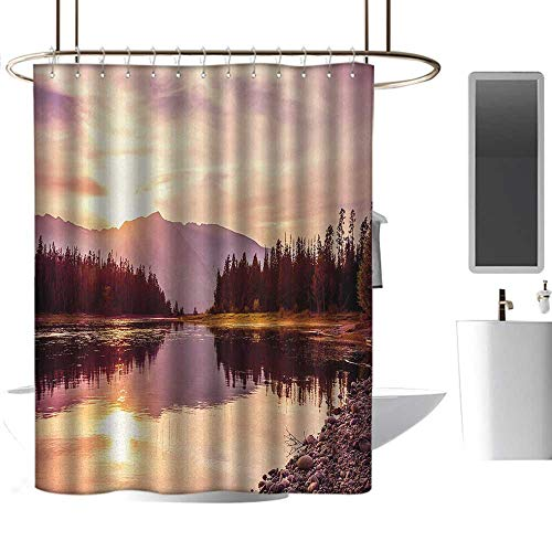 TimBeve Vintage Shower Curtain Landscape,Grand Teton Mountain Range at Sunset Jackson Lake Calm National Park USA,Peach Pale Yellow,Rustproof Metal Grommets Bathroom Shower Curtain ()