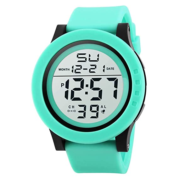 FUBULE Reloj HONHX Unisex Multi-Function Sport Resin Correa Reloj Digital (Color : Green