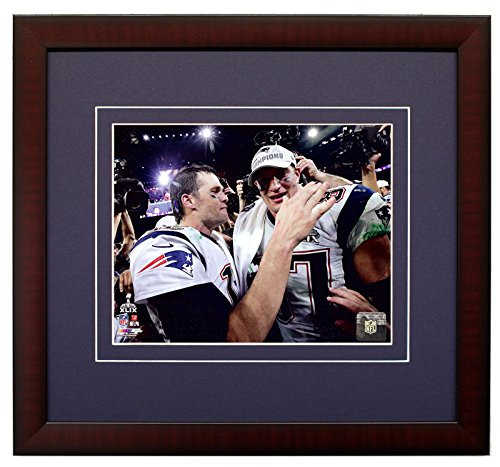 New England Patriots Tom Brady And Rob Gronkowski Moments After Super Bowl XLIX 49. 8x10 Photo. Framed Picture.