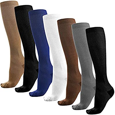 Reehut 7 Pairs Compression Socks (15-25mmHg) for Men & Women - Great for Running, Medical by Reehut