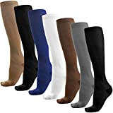 Reehut 7 Pairs Compression Socks (15-25mmHg) for Men & Women - Great for Running, Medical (L/XL)