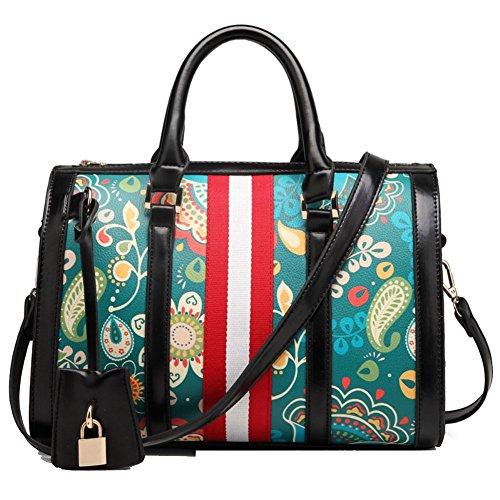 HIFISH HB20069 PU Leather Handbag for Women,High-Grade Printing Pillow Pack,Black