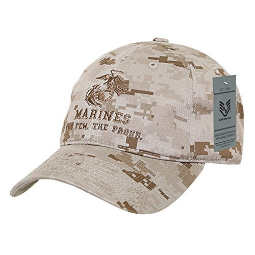 BHFC United States US Marine Corp USMC Marines Polo Relaxed Cotton Low Crown Baseball Cap Hat (Camo 2) (United States Corps Marine)