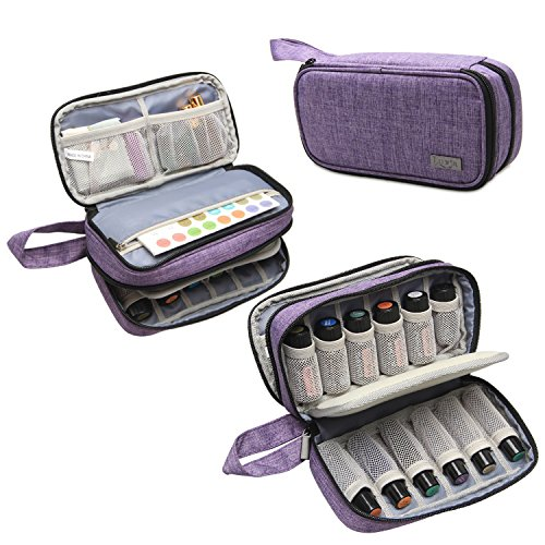 Luxja Essential Oil Carrying Case - Holds 12 Bottles (5ml-15ml, Including Roller Bottles), Portable Double-Layer Organizer for Essential Oil and Accessories, Purple by LUXJA