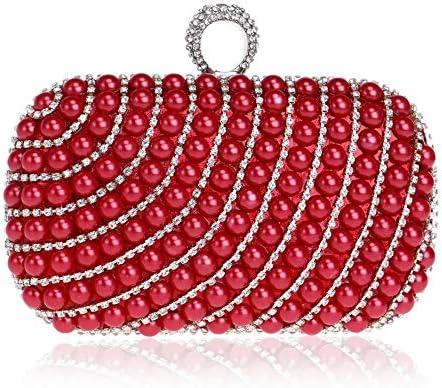 パールバッグ、レディースディナーバッグ、ヨーロッパおよびアメリカの宴会用ハンドバッグ、5色、16 * 9.5 * 5 Cm 美しいファッション (Color : Red)