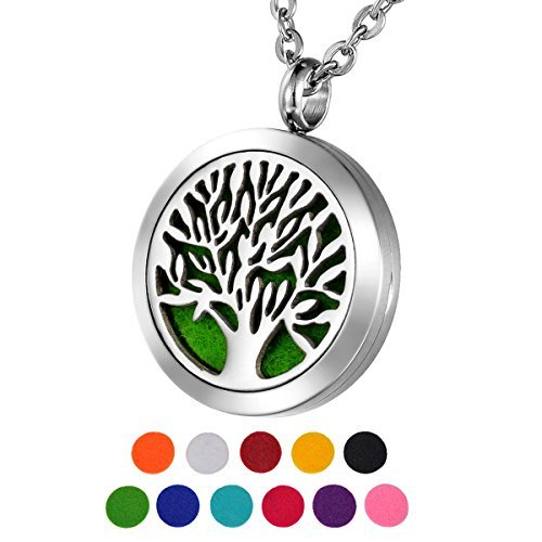 HOUSWEETY Aromatherapy Essential Oil Diffuser Necklace Hypo-Allergenic Stainless Steel Locket Round Pendant Necklace HOUSWEETYB104688