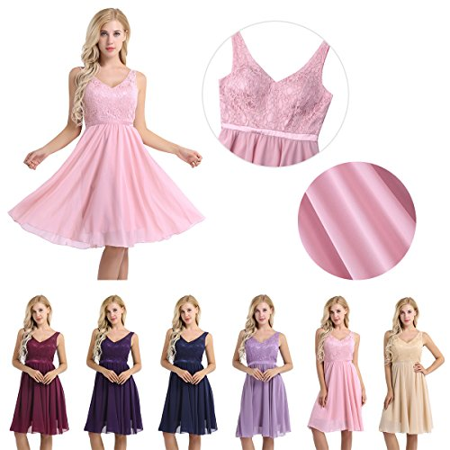 YiZYiF Women#039s Lace Chiffon ALine Prom Formal Wedding Bridesmaid Short Mini Dress