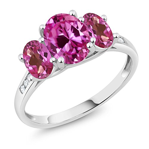 Gem Stone King 10K White Gold Diamond Accent Oval Pink Created Sapphire Pink Mystic Topaz 3-Stone Ring 2.65 Ct (Size 7)