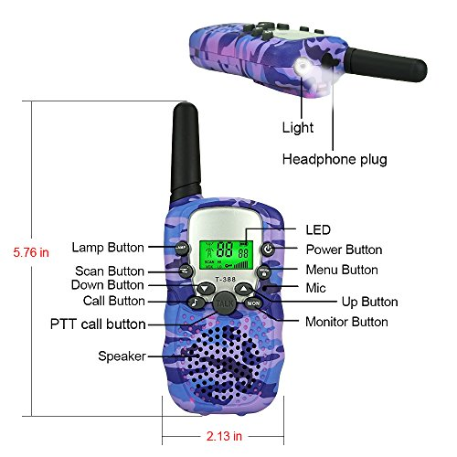 DIMY Toys for 3-12 Year Old Girls, Stocking Stuffer Fillers Walkie Talkies for Kids Toys for 3-12 Year Old Boys Girls Brithday Gifts for 3-12 Year Old Girls 2018 Christmas Gifts Purple DMDJJ06