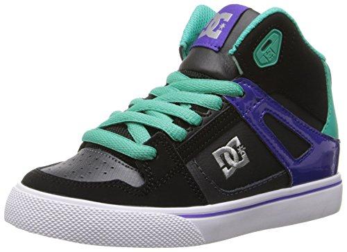 DC Spartan High Skate Shoe (Little Kid/Big Kid),Black/Turquoise,12 M US Little Kid - Dc Shoes High For Kids
