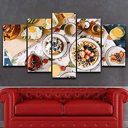 KANGZEDT Pintura sobre lienzo 5 piezas 150*80CM Comida deliciosa 5 Cuadro sobre Lienzo Marco Mural Impresiones En Lienzo Cuadro en Lienzo Posters 5 Piezas Pintura de Arte de Pared impresi/ón en Lienz