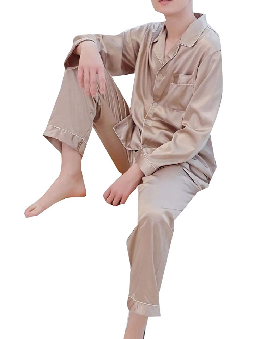RDHOPE-Men Charmeuse Buttoned Relaxed Notched Collar Homewear Sleepwear Set