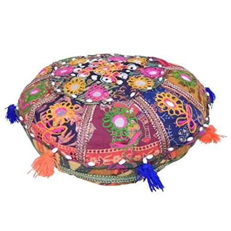 Amazon.com: Indian Cojín redondo Oriental colorido algodón ...