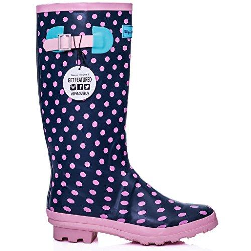 KARLIE Spylovebuy Knee Boots Flat Rain High Wellies Wellington Spot Pink Festival A7qC7gwT