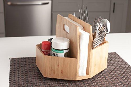 Bamboo Rotating Utensil Holder Portable Silverware Caddy, Condiment, Dining & Kitchen Organizer, Makeup Holder, Desktop, Classroom Supplies Organizer by MobileVision (Image #7)