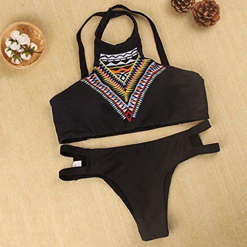VENMO Bohemia Alta Cuello Bikini Conjunto Estampado Traje de Baño Acolchado Playa Bra Negro tangas