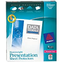 "Avery Heavyweight Diamond Clear Sheet Protectors, 8.5 ""x 11"", sin ácido, seguro de archivo, carga fácil, 50 quilates (74106)"
