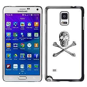 GOODTHINGS Funda Imagen Diseño Carcasa Tapa Trasera Negro Cover Skin Case para Samsung Galaxy Note 4 SM-N910F SM-N910K SM-N910C SM-N910W8 SM-N910U SM-N910 - bandera pirata de plata blanco negro del cráneo
