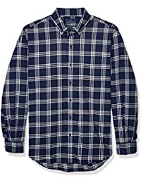 Amazon Brand - Buttoned Down Men's Classic Fit Supima Cotton Brushed Twill Plaid Sport Shirt