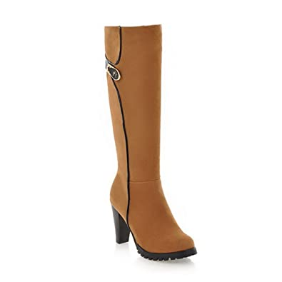 VogueZone009 Womens Closed Round Toe High Heel Soft Material PU Boots with Zipper