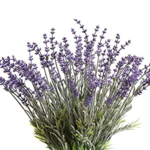 Flojery 4Pcs Artificial Lavender Plant With Flocked Fake Lavender Flower For Wedding Home Decor