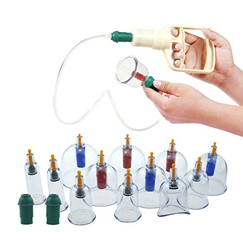 Cupping Therapy Sets | Kangzhu At Home Acupuncture Kit Biomagnetic 12 Cups Chinese Massage Cups with Pumping Handle