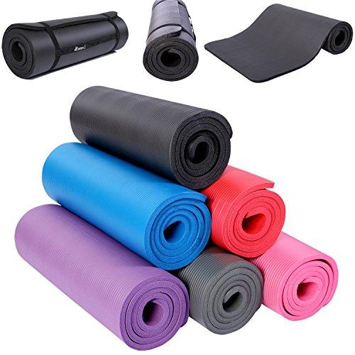 TRESKO Fitnessmatte Yogamatte Pilatesmatte Gymnastikmatte TÜV SÜD-geprüft in 6 Farbvarianten / Maße 185cm x 60cm in 2 Stärken / Phthalates-getestet / NBR Schaumstoff / hautfreundlich, anschmiegsam, kälteisolierend (Lila, 185 x 60 x 1.5 cm)