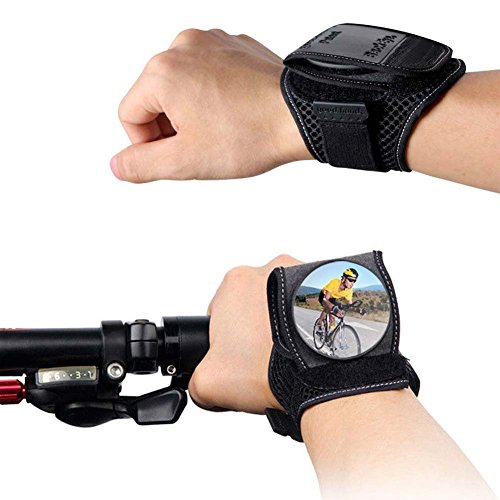 Rear View Mirror Arm (Bike Rear View Mirror - Qidoou Adjustable Wrist Wear Bicycle Mirror 360 Degree Wide-angle Cycling Wristband Safety Back Rear View Mirror for Cyclists Mountain Road Bike Riding)