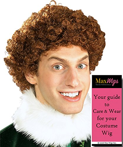 Buddy Elf Christmas Color Light Auburn - Rubies Men's Will Ferrell Curly Workshop Bundle with MaxWigs Costume Wig Care Guide -