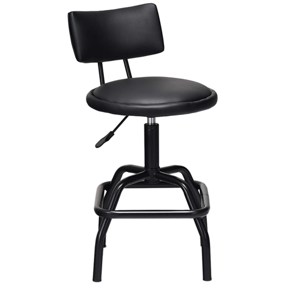 COSTWAY Barstool, Modern Armless Comfortable Adjustable Hydraulic Heavy Duty Steel Frame Stool Bistro Pub, Modern PU Leather Cushion and Backrest for Home, Bar and Shop, Black 1 Retro Style Stool