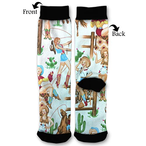 Wild West Cowgirl Classic Dress Cotton Socks Comfortable Breathable Over-The-Calf Tube 40cm