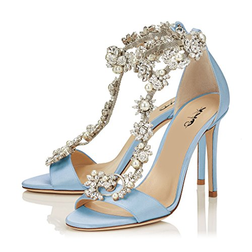 XYD Cocktail Party Evening High Heeled Stilettos Wedding Rhinestones Sandals T-Strap Crystal Pumps for Women Size 8 Light Blue]()