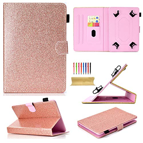 Uliking Universal 9.5-10.5 inch Andriod iOS Tablets Case, Bling Glitter Folio Stand Cover for 9.6
