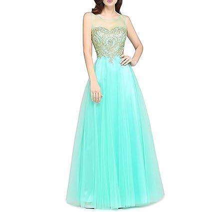 Lamdoo Vestido de Noche sin Mangas Mujer, sin Espalda, Color Verde Claro XL,